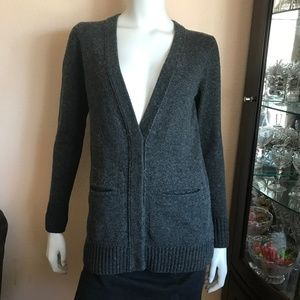 Madewell Gray Button Up Long V-Neck Cardigan XS